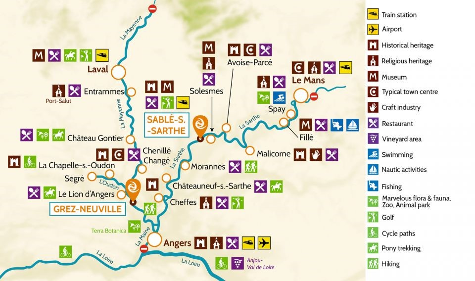 Ruttförslag Sablé-sur-Sarthe (Anjou)